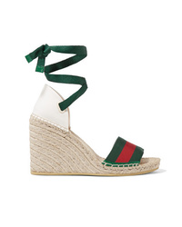 Gucci Lilibeth Striped Gros And Canvas Wedge Espadrilles