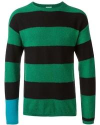 Green Horizontal Striped Crew-neck Sweater