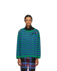 Charles Jeffrey Loverboy Blue And Green Striped Slash Sweater