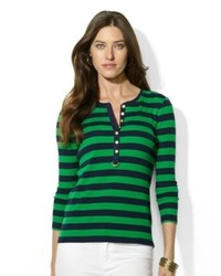Green Horizontal Striped Henley Shirt