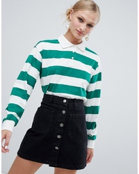 Monki Cropped Stripe Rugby Shirt