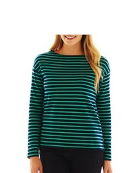 JCP Striped Long Sleeve Boatneck Tee