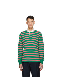 Drakes Green And Pink Stripe Rugby Polo