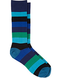 Paul Smith Block Striped Cotton Blend Mid Calf Socks