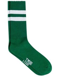 Topman White And Green Stripe Socks