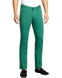 Zegna Sport Green Stretch Denim Straight Leg Slim Fit Jeans