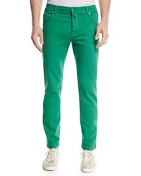 Kiton Twill Slim Straight Jeans Green