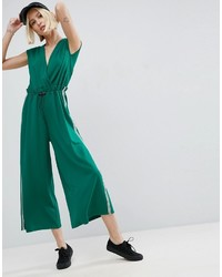Asos Jersey Jumpsuit With Tape Detail In Rib