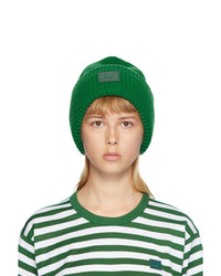 Acne Studios Green Rib Knit Patch Beanie