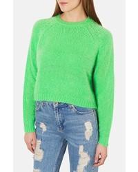 Topshop Monster Fluffy Crop Sweater Green 2