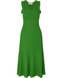 MICHAEL Michael Kors Ruffled Ribbed Stretch Knit Midi Dress
