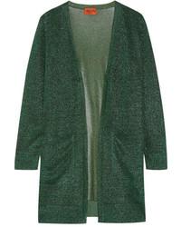 Missoni Metallic Crochet Knit Cardigan Green