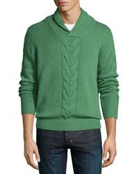 Green Knit Shawl-Neck Sweater