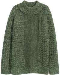 H&M Glittery Knit Sweater Dark Green Ladies
