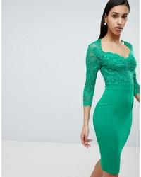 City Goddess 34 Sleeve Lace Midi Dress