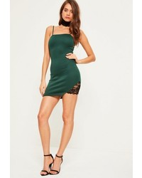 Missguided Green Choker Lace Insert Strappy Bodycon Mini Dress