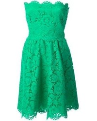 Valentino Strapless Floral Lace Dress
