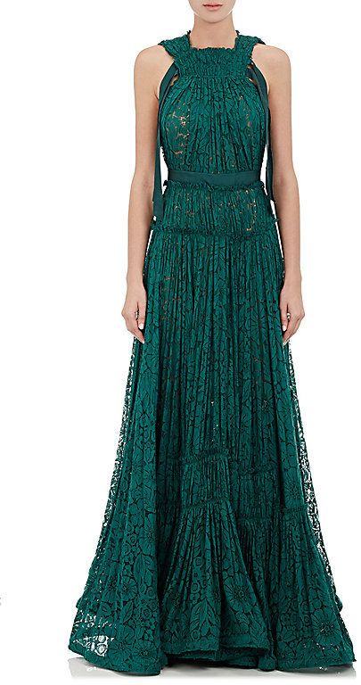 Lanvin Tiered Floral Lace Gown Green Size 36 Fr | Where to buy & how ...