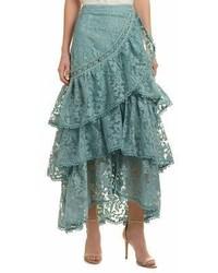 Champagne strawberry lace midi skirt medium 6990995