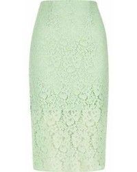 River Island Green Floral Lace Pencil Skirt