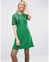 Asos Lace Insert Shift Dress