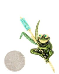 PammyJ Fashions Gold Tone Green Frog Brooch Pin