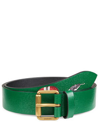 Snake print leather belt green medium 670434