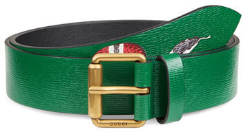 a775028a796 ... Gucci Snake Print Leather Belt Green ...