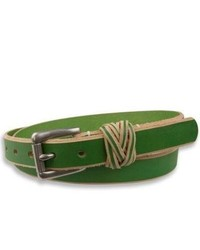 Sperry topsider shoes braided loop belt green briar leather medium 290524