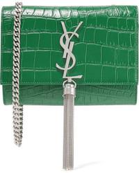 Saint Laurent Monogramme Kate Small Croc Effect Leather Shoulder Bag Forest Green