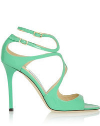 Green Leather Heeled Sandals