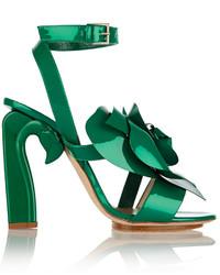 DELPOZO Appliqud Patent Leather Sandals