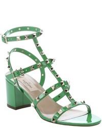 Valentino Green Patent Leather Rockstud T Strap Sandals