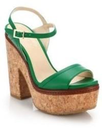 Jimmy Choo Naylor Cork Heeled Leather Sandals