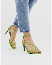 Stradivarius Py Skinny Sandals In Green