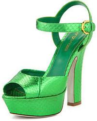 Sergio Rossi Snakeskin Leather Platform Sandal Green