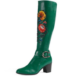 Gucci Dionysus Embroidered Knee Boot Emerald