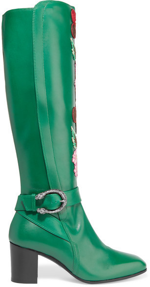 52002c93e COM › Gucci › Green Leather Knee High Boots Gucci Embroidered Leather Knee  Boots Emerald ...