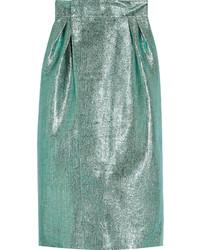 Metallic jacquard wrap midi skirt medium 417630