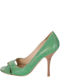 Prada Leather Peep Toe Pumps