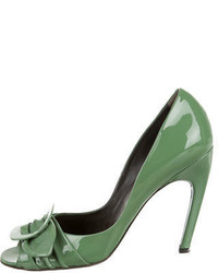 Roger Vivier Patent Leather Peep Toe Pumps