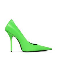 Balenciaga Square Knife Neon Leather Pumps