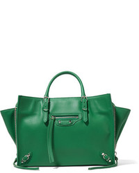 Balenciaga Papier A6 Textured Leather Tote Green