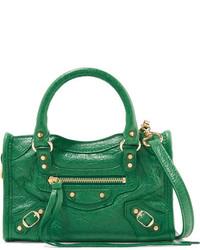 Balenciaga Classic City Nano Textured Leather Shoulder Bag Forest Green