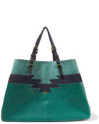 Jerome Dreyfuss Jrme Dreyfuss Maurice Leather And Suede Tote Green