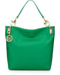 Love Moschino Saffiano Cat Handle Faux Leather Small Tote Green