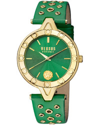 Versus By Versace 34mm V Versus Eyelet Watch W Leather Strap Green