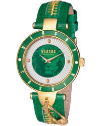 Versus By Versace 37mm Key Biscayne Ii Watch W Leather Zipper Strap Green