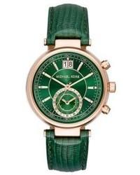 Michael Kors Michl Kors Sawyer Rose Goldtone Stainless Steel Alligator Embossed Leather Strap Watch
