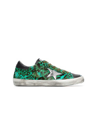 Golden Goose Deluxe Brand Green Black And Silver Leopard Print Leather Sneakers